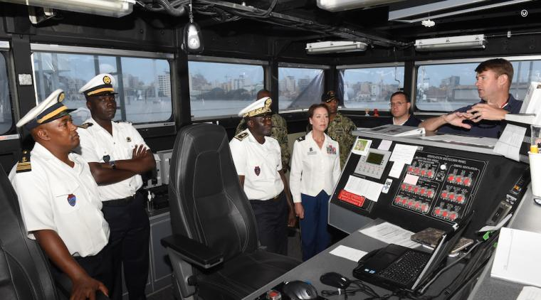 The Senegalese Navy Chief of Naval Staff tours USNS Carson City in July 2019. (U.S. Navy photo)