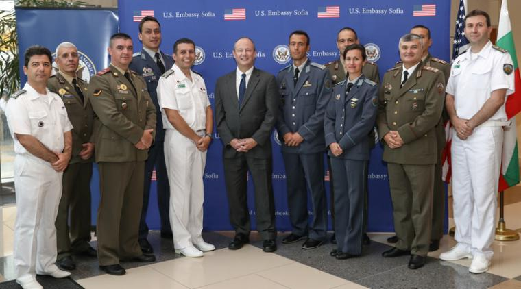 Bulgarian Officers and Non-Commissioned Officers meet former Ambassador Rubin at the US Embassy Sofia after recently graduating from IMET-funded U.S. military courses (July 2019).