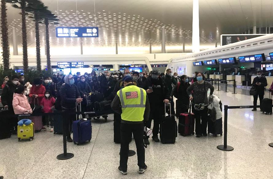 American citizens wait to board the first flight evacuation out of Wuhan, China, Jan. 29, 2020(U.S. Department of State Photo)