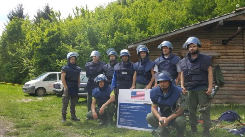 Supported by the United States, deminers from the Mine Detection Dog Center (MDDC) prepare for another day of clearing landmines on the outskirts of Sarajevo. (photo courtesy of MDDC)