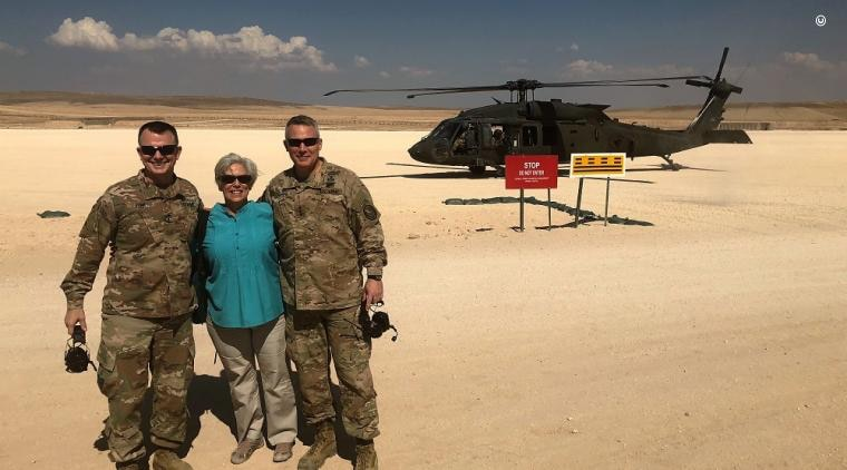 POLAD Joanne Cummings with Lieutenant General Paul Funk and Lieutenant General LaCamera during a battlefield visit in Iraq.