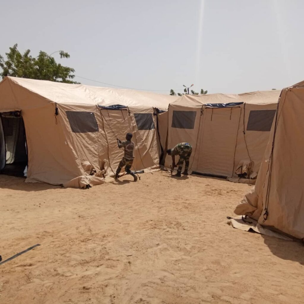 Senegalese soldiers completing setup of U.S.-provided field hospital in Touba to support COVID-19 response (Photo courtesy of the U.S. Department of State)