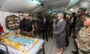 U.S. Ambassador to Ghana Stephanie Sullivan tours a field hospital in 2019, donated under the Africa Peacekeeping Rapid Response Partnership. (Department of State photo)