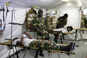 Senegalese military personnel practice combat medicine techniques in 2019 in a U.S.-provided field hospital donated under the Africa Peacekeeping Rapid Response Partnership (Department of State photo)
