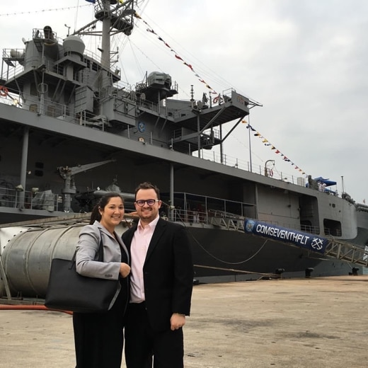 Rachael and her husband, Jeff, tour part of the U.S. 7th fleet during a ship visit to Hong Kong (Photo courtesy of the Author)