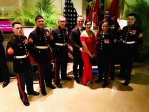 Rachael and her husband, Jeff, at the U.S. Consulate General Marine Ball in Hong Kong (Photo courtesy of the Author)