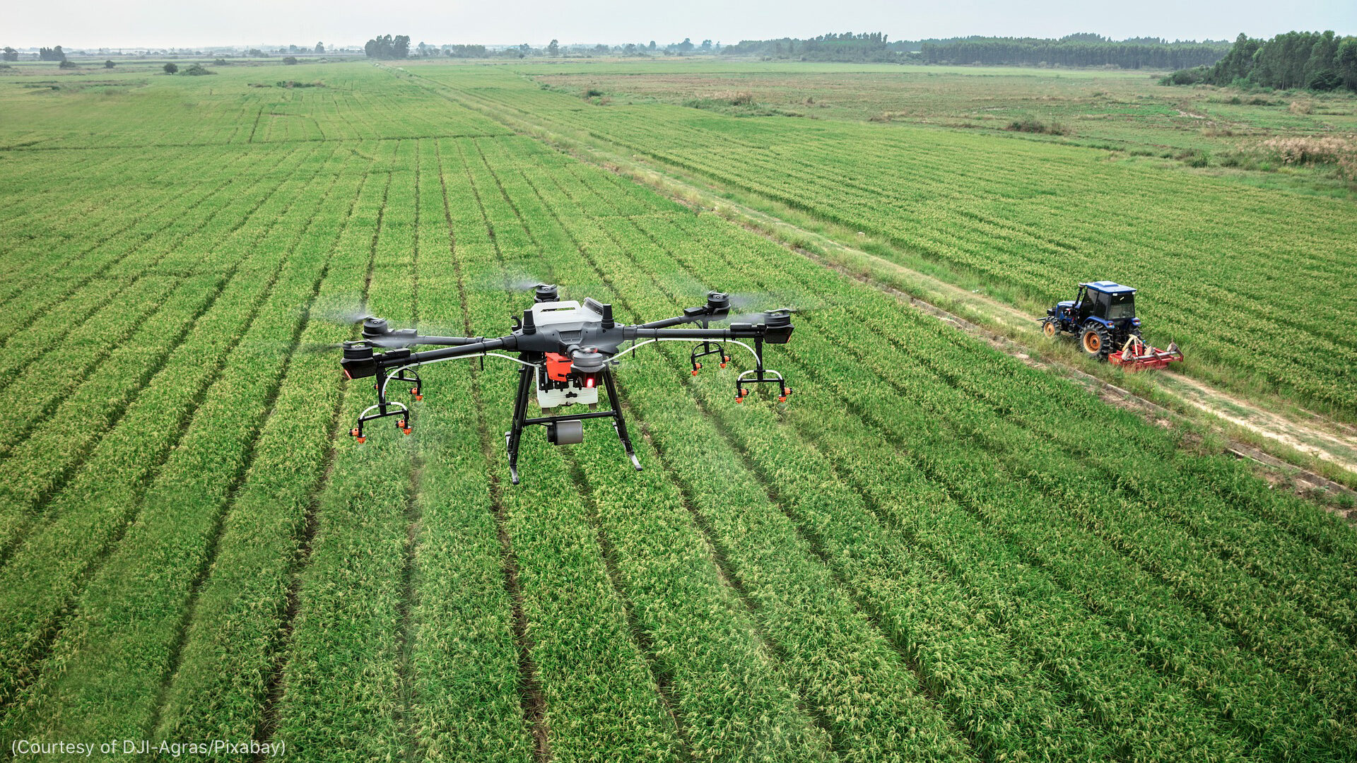 Drones monitor agricultural field conditions in real-time.