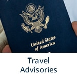 """Travel Advisories"" subheading with image of a U.S. passport from AP Images (AP Photo/Iuliia Stashevska)"