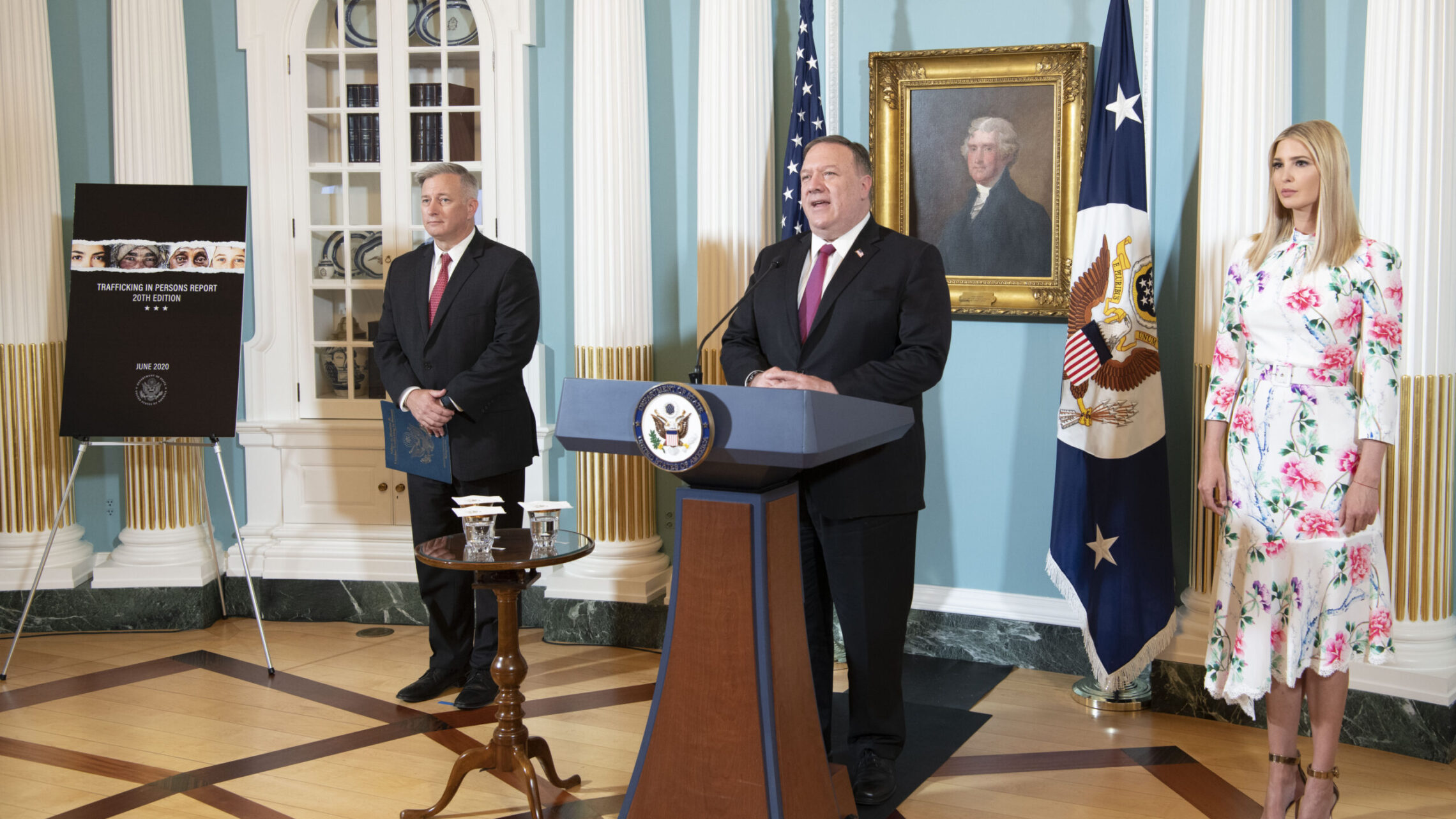 Secretary Pompeo delivers remarks on the virtual release of the 2020 Trafficking in Persons Report on June 25, 2020. [State Department Photo by Freddie Everett/Public Domain]