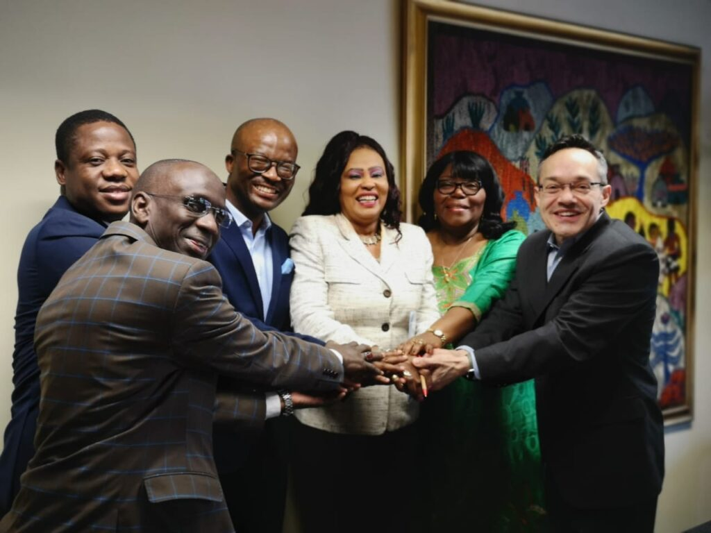 The International Budget Partnership's (IBP) Juan Pablo Guerrero poses for a photo with senior government officials from Benin, Liberia, Nigeria, Senegal, and South Africa in March 2020. IBP received a FTIF grant to promote budget transparency and public participation across the five countries, using peer learning. (Photo Credit: International Budget Partnership)