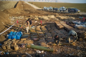 U.S.-funded demining teams consolidate explosive hazards left by ISIS in northern Iraq. (Photo courtesy of MAG)