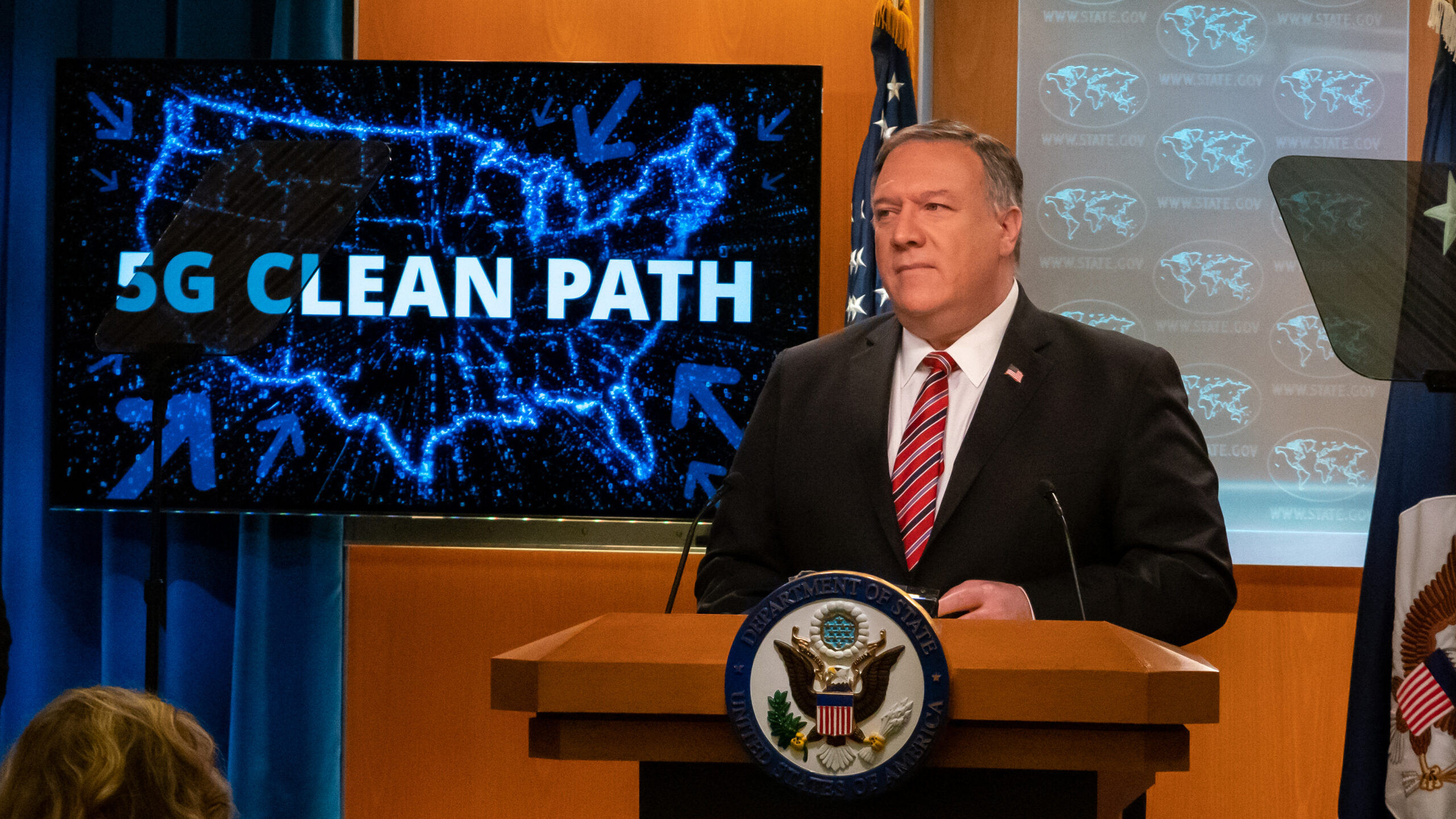 "Secretary Michael R. Pompeo in the State Department Press Briefing Room on April 29, 2020, in front of a screen reading ""Clean Path"""