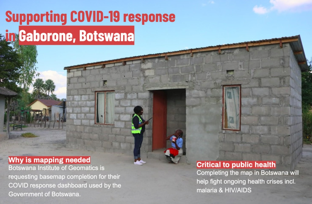 Supporting COVID-19 response in Gaborone. Photo credit: Humanitarian OpenStreetMap Team