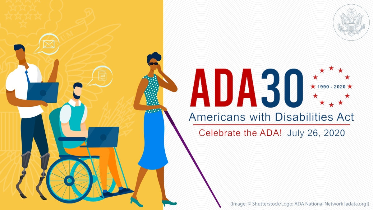 A graphic celebrating the 30th Anniversary of the ADA. Three individuals are pictured - one with prosthetic legs, one in a wheel chase, and one using a white cane.