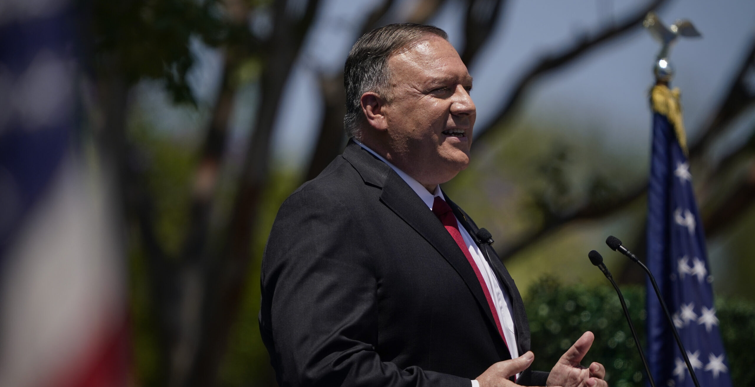 Secretary of State Mike Pompeo speaks at the Richard Nixon Presidential Library, Thursday, July 23, 2020, in Yorba Linda, Calif. (AP Photo/Ashley Landis, Pool)