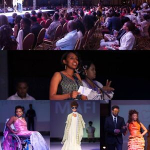 Collage of photos dejecting an Inclusive Fashion Show at the U.S. Embassy Addis Ababa. Photos include a crowd, Rigbe speaking at a microphone, and several individuals in dresses - one in a wheelchair, one alone, one escorted by a man.