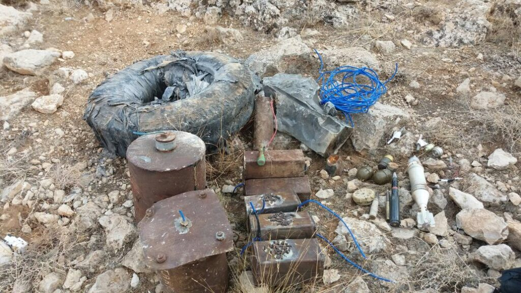 Examples of the full range of explosive hazards recovered in Arsal (Photo courtesy of MAG)