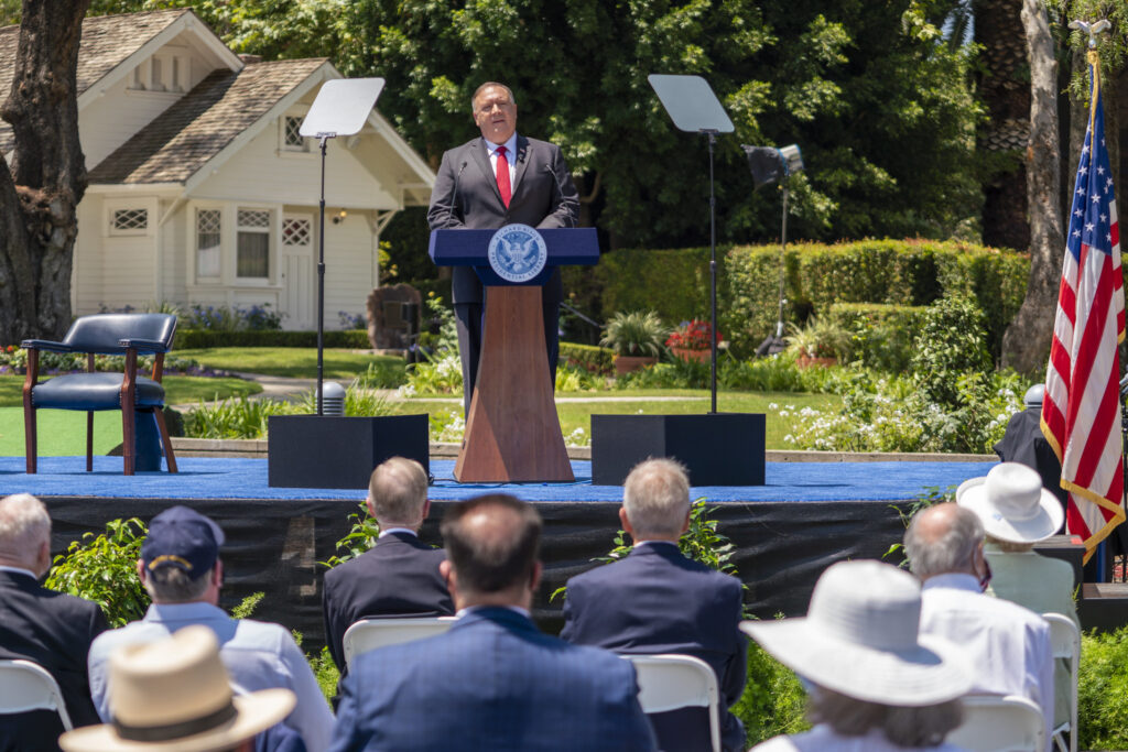 """Secretary of State Michael R. Pompeo delivers a speech on """"Communist China and the Free World's Future"""" at the Richard Nixon Presidential Library, in Yorba Linda, California, on July 23, 2020."""