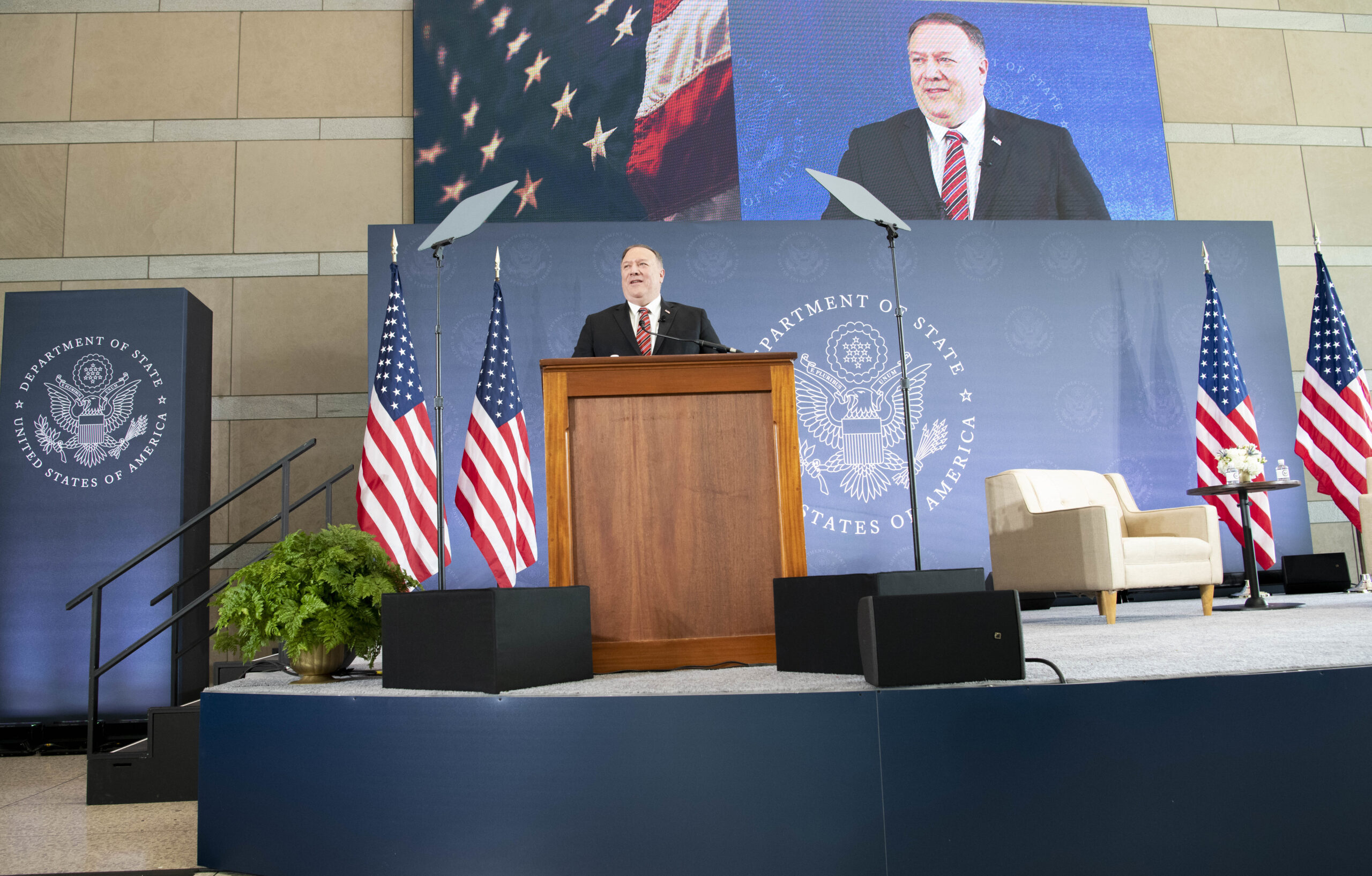 """Secretary of State Michael R. Pompeo delivers remarks on """"Unalienable Rights and the Securing of Freedom"""" at The National Constitution Center, in Philadelphia, Pennsylvania., on July 16, 2020"""