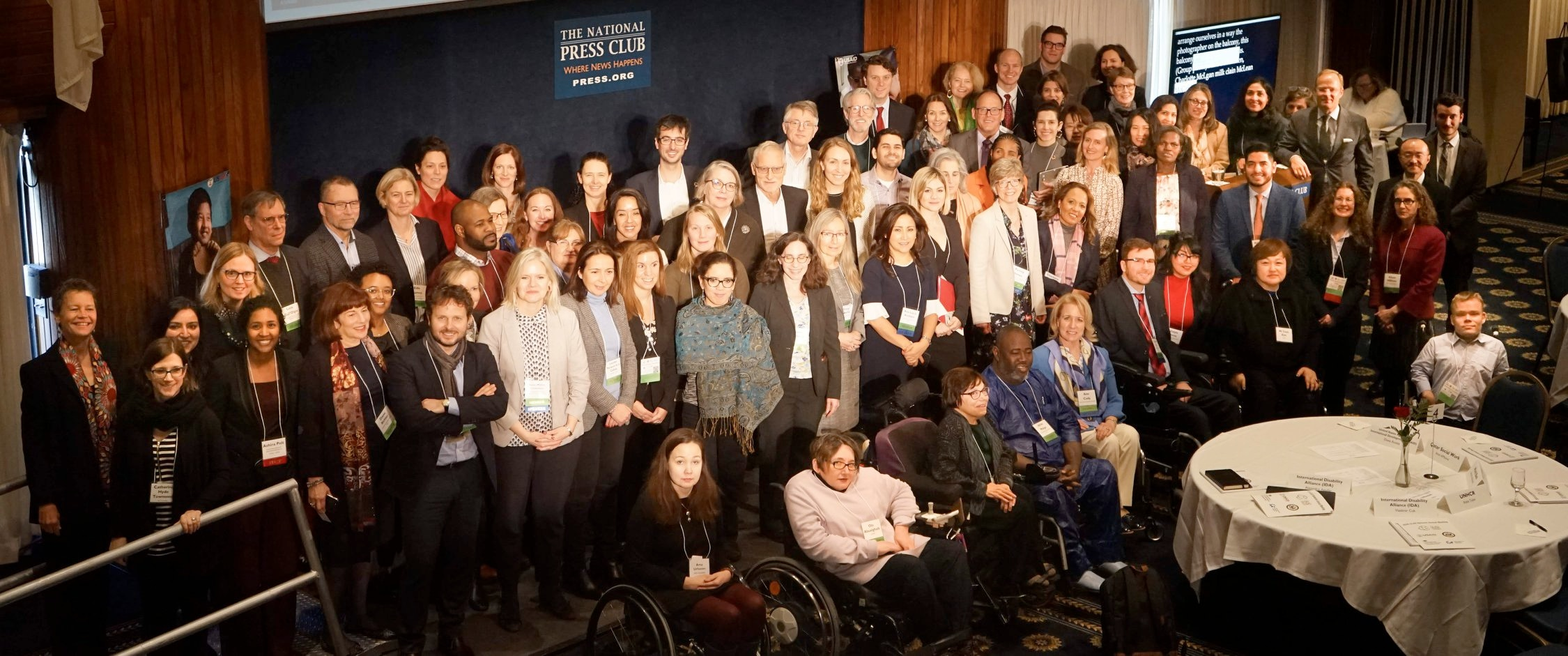 Group of leading disability rights advocates in a group photo at the national press club