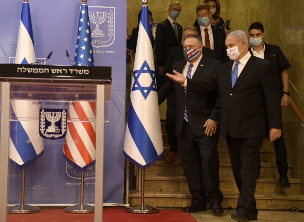Secretary of State Michael R. Pompeo and Israeli Prime Minister Benjamin Netanyahu prepare to deliver statements to the press at the Israeli Prime Minister's Office in Jerusalem, Israel, on August 24, 2020.