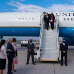 Secretary of State Michael R. Pompeo and Mrs. Susan Pompeo arrive in the Czech Republic and are greeted by U.S. Ambassador to the Czech Republic Stephen B. King and U.S. Deputy Chief of Mission to the Czech Republic Jennifer Bachus on August 11, 2020.