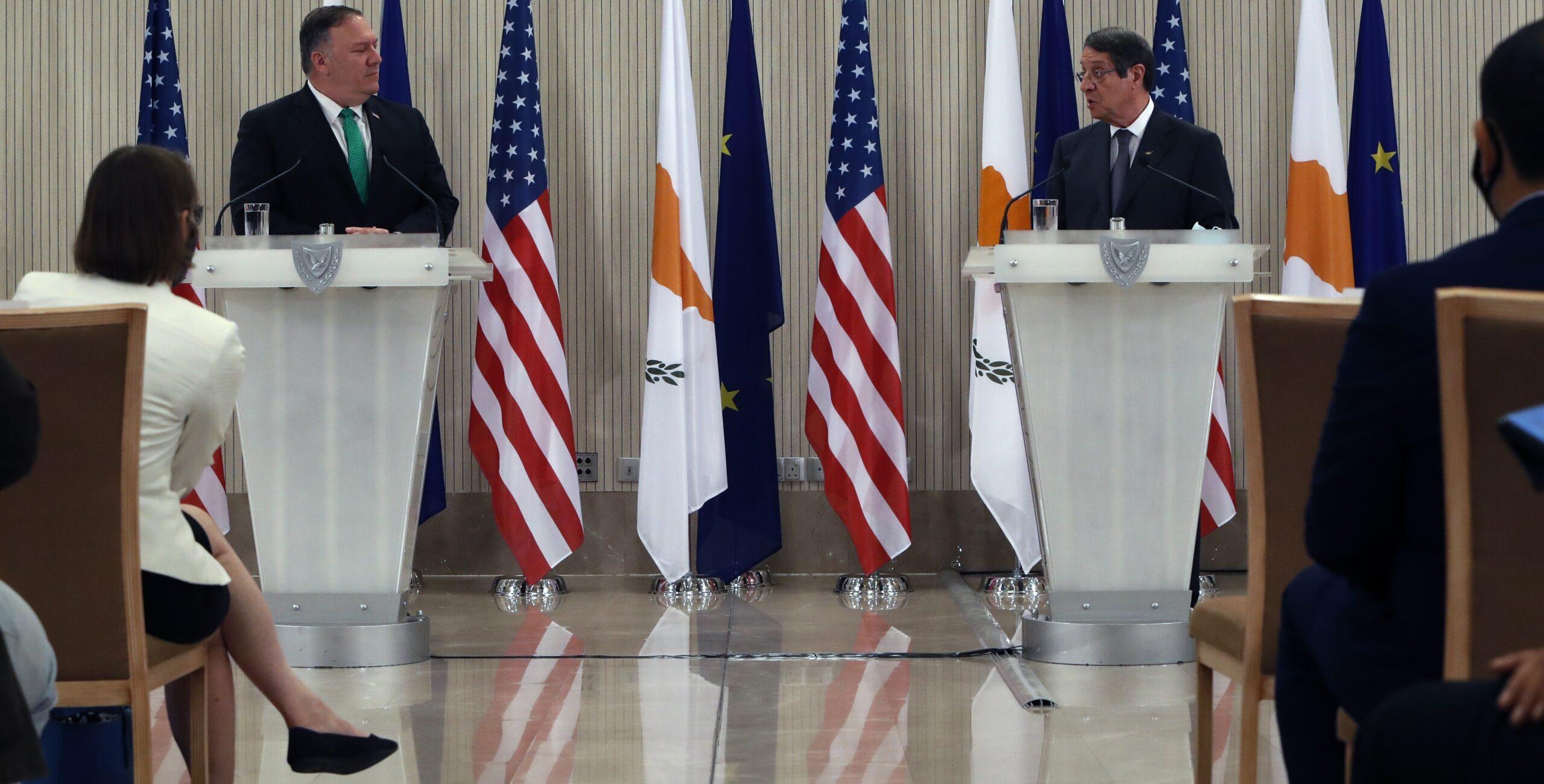 U.S. Secretary of State Michael R. Pompeo and Cypriot President Nicos Anastasiades at podiums.