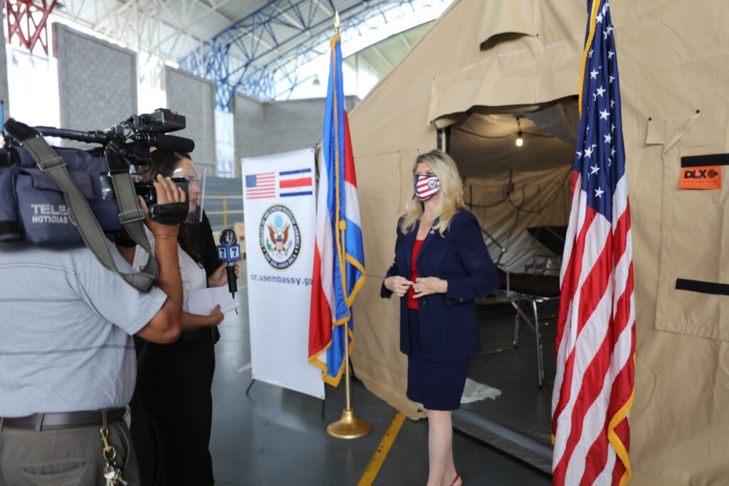 U.S. Ambassador to Costa Rica Sharon Day delivered three field hospitals, purchased by U.S. Southern Command (SOUTHCOM), to the Costa Rican government during an official donation ceremony Aug. 24 in San Jose, Costa Rica. The donation, made on behalf of the American people, cost $1.1 million and was provided as part of SOUTHCOM's ongoing assistance to nations responding to the global pandemic in Central America, South America and the Caribbean. In total, SOUTHCOM will donate 24 field hospitals to 11 countries in the coming weeks. (Photos courtesy U.S. Embassy Costa Rica)