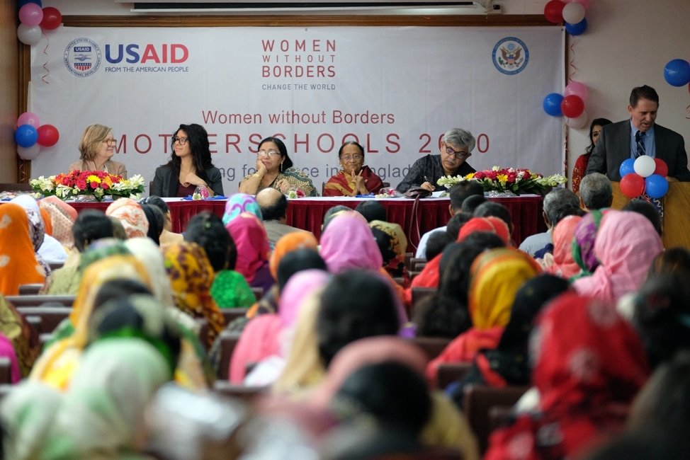 MotherSchools participants from Bangladesh gather in Dhaka for a ceremony commemorating their participation in the program. (Photo courtesy of Women without Borders)