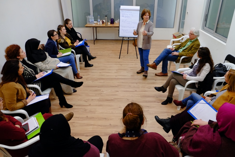 Dr. Edit Schlaffer, Founder and Executive Director of Women without Borders, leads a training of MotherSchools participants in North Macedonia (photo courtesy of Women without Borders.)