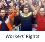 Workers' Rights; Image: Men raise their hands in a workers' protest in Iran