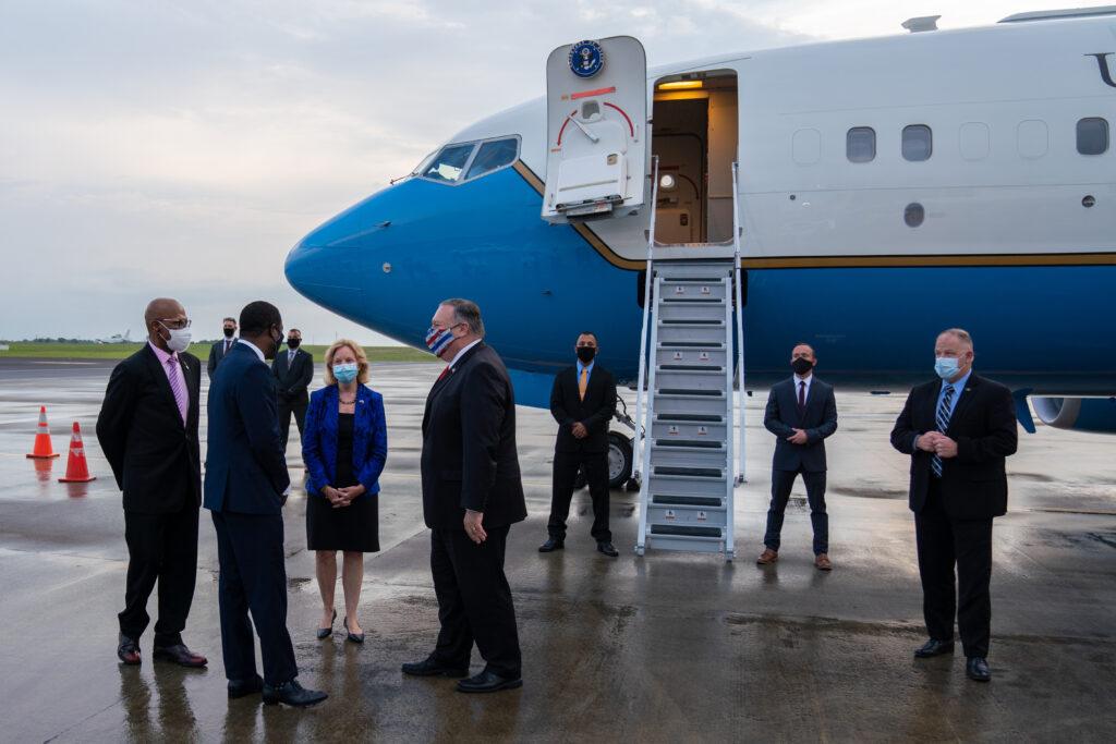Secretary of State Michael R. Pompeo arrives in Georgetown, Guyana, on September 17, 2020.