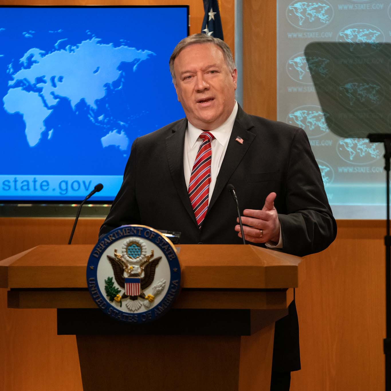 U.S. Secretary of State Michael R. Pompeo delivers remarks to the media in the Press Briefing Room, at the Department of State in Washington, D.C., on April 29, 2020. [State Department Photo by Ronny Przysucha / Public Domain]
