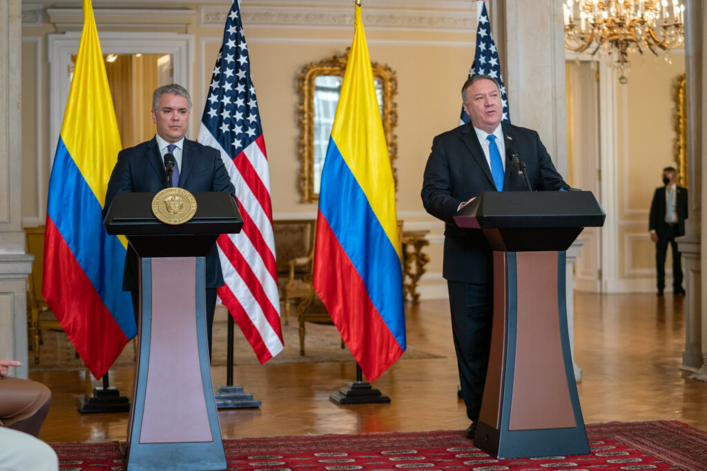 Secretary of State Michael R. Pompeo participates in a press conference with Colombian President Ivan Duque in Bogota, Colombia, on September 19, 2020. [State Department Photo by Ron Przysucha/ Public Domain]