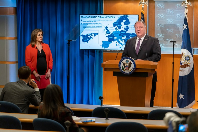 Secretary of State Michael R. Pompeo, with Spokesperson Morgan Ortagus, delivers remarks to the media, at the U.S. Department of State in Washington, D.C., on October 14, 2020. [State Department photo by Ron Przysucha/ Public Domain]