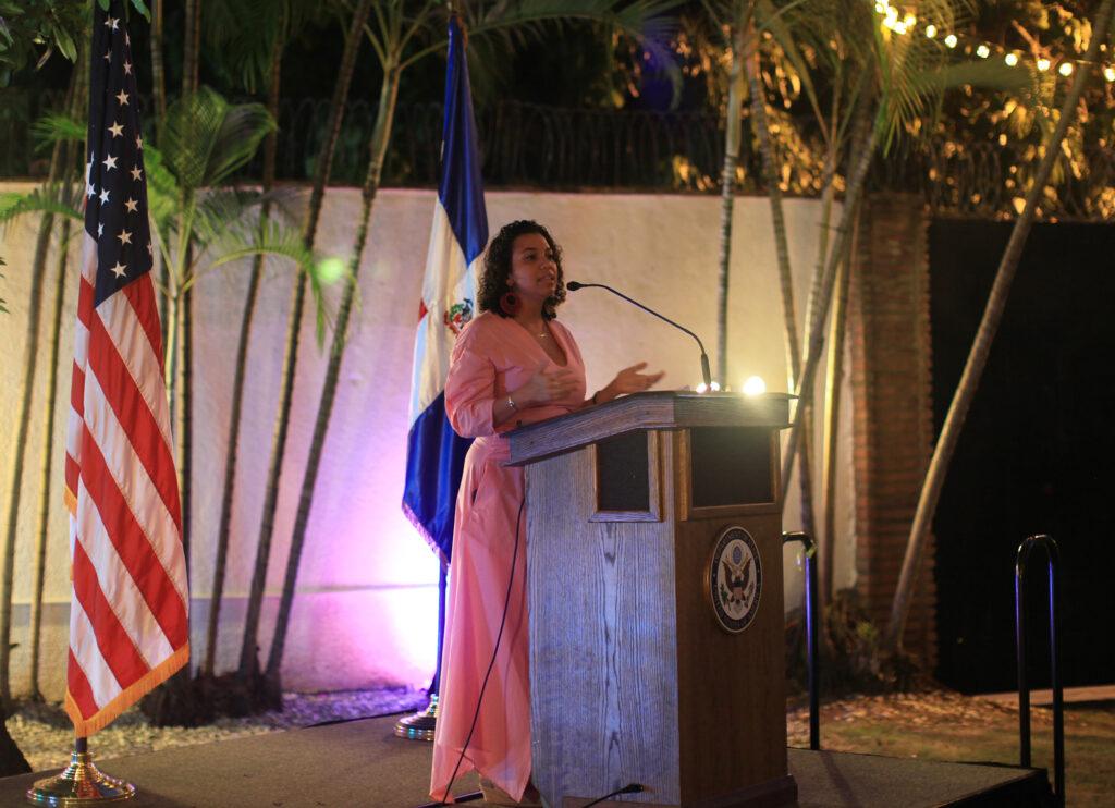 Carolina speaks during an event at the U.S. Embassy Santo Domingo. (Photo courtesy of U.S. Embassy Santo Domingo)