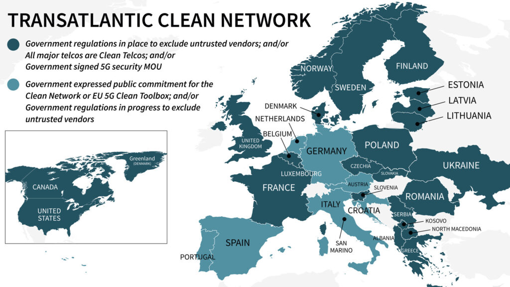 Transatlantic clean network map
