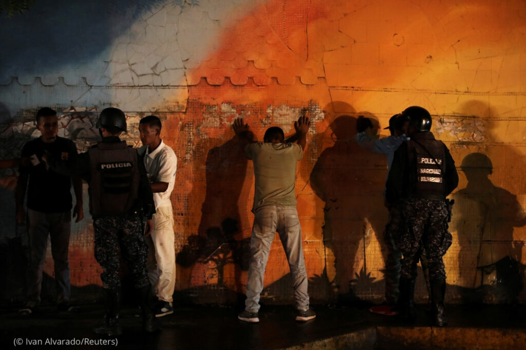 Members Of The FAES Stop People During A Night Patrol, In Barquisimeto