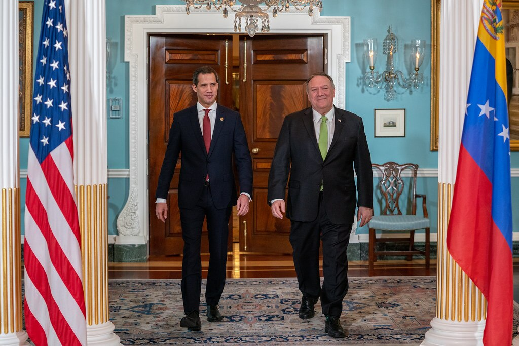 Secretary of State Michael R. Pompeo meets with Interim President of the Bolivarian Republic of Venezuela Juan Guaidó, at the U.S. Department of State in Washington, D.C., on February 6, 2020. [State Department Photo by Ron Przysucha/ Public Domain]