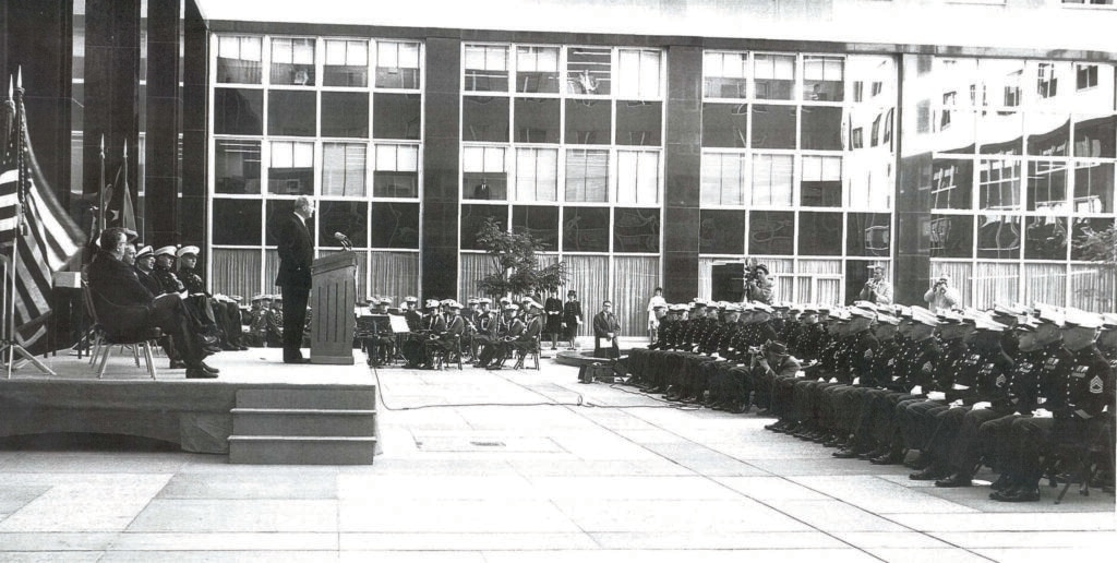 Secretary of State Dean Rusk speaks to a graduating class of Marine Security Guards, circa 1960s. (Department of State Records, National Archives and Records Administration)