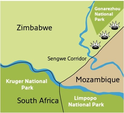 Landmines in the Sengwe Wildlife Corridor prevent the safe movement of wildlife and impede development. (Map courtesy of APOPO)