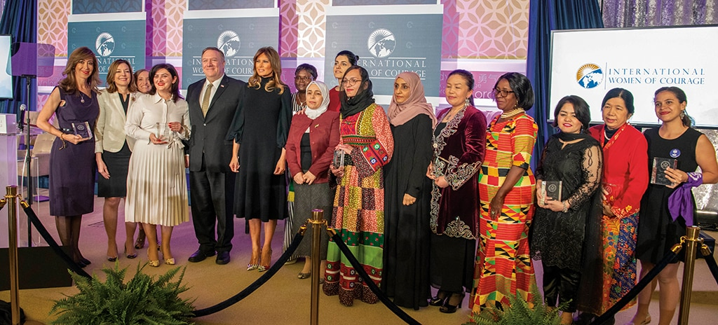 Photo showing Secretary Pompeo, First Lady of the United States Melania Trump, Assistant Secretary Marie Royce, and the 2020 Annual International Women of Courage awardees posing in Washington, D.C., March 4, 2020. [Department of State]
