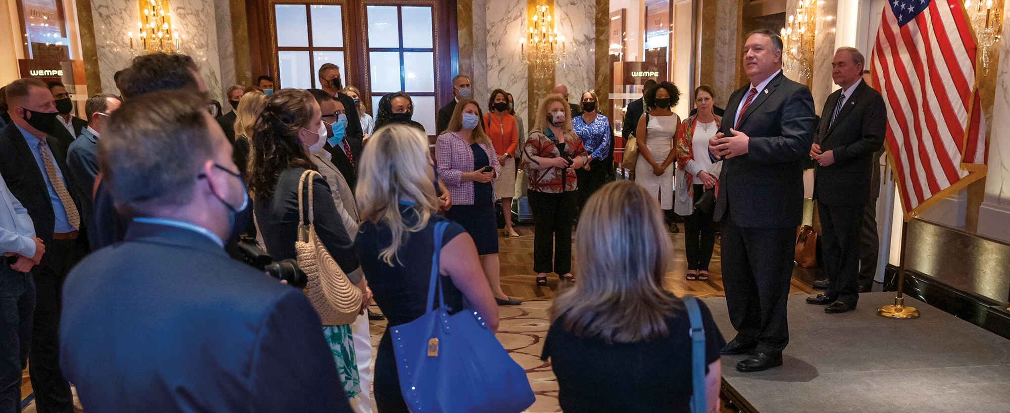 Photo showing Secretary Pompeo meeting with staff and families of the U.S. Missions in Vienna, Austria, August 14, 2020. [Department of State]