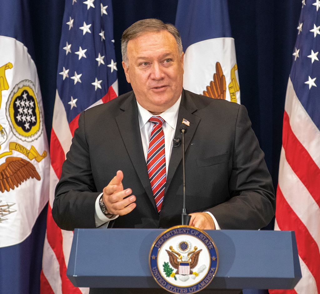 Photo showing Secretary Pompeo holding a town hall meeting on the Report of the Commission on Unalienable Rights in Washington, D.C., September 9, 2020. [Department of State]