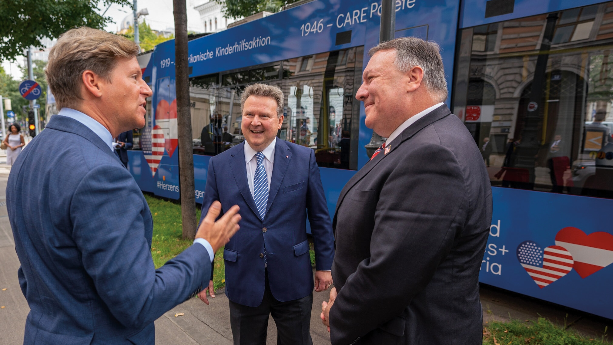 Photo showing Secretary Pompeo participating in the launch of the U.S.-Austria Friendship Tram with Vienna Mayor Michael Ludwig and United States Ambassador to the Republic of Austria Trevor D. Traina, Vienna, Austria, August 14, 2020. [Department of State]