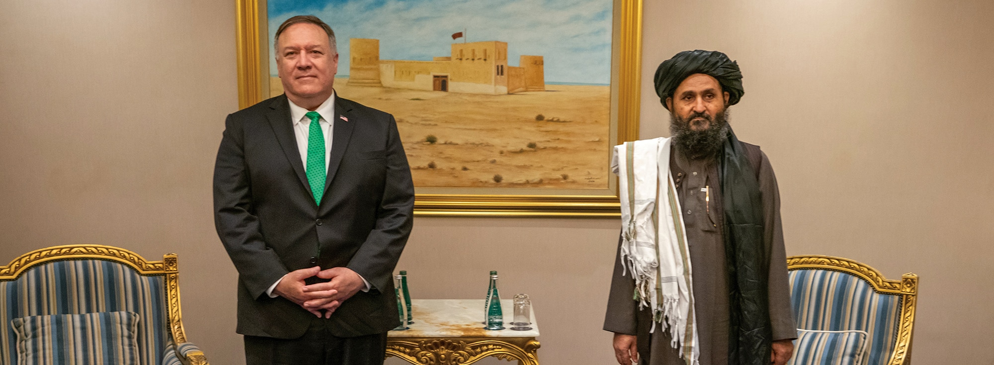 Photo showing Secretary Pompeo meeting with the Taliban Delegation in Doha, Qatar, September 12, 2020. [Department of State]