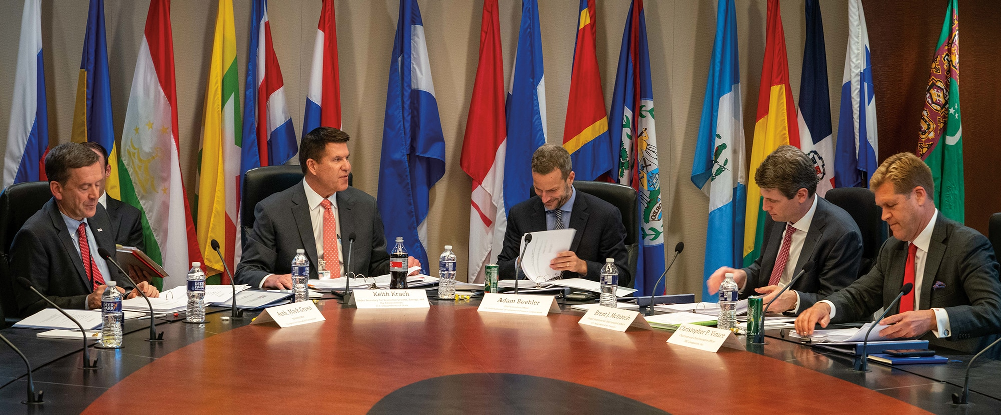 Photo showing Under Secretary of State Keith J. Krach participating in the U.S. International Development Finance Corporation board meeting in Washington, D.C., March 11, 2020. [Department of State]