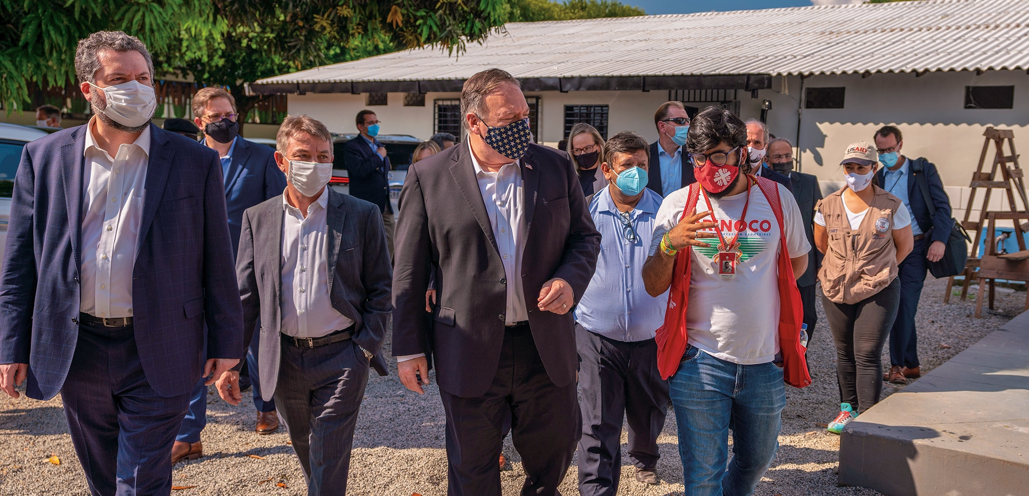 Photo showing Secretary Pompeo visiting a water sanitation and hygiene USAID-NGO program site in Boa Vista, Brazil, September 18, 2020. [Department of State]
