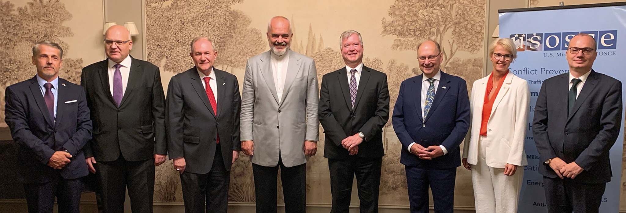 Photo showing Deputy Secretary of State Stephen E. Biegun meeting with OSCE Troika, including the current, past, and future Chairperson-in-Office of the Organization for Security and Co-operation in Europe (OSCE), in Vienna, Austria, August 27, 2020. [Department of State]