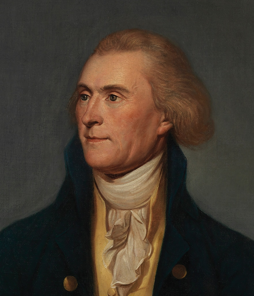 Portrait of Thomas Jefferson who was the principal drafter of the Declaration of Independence and later served as the first Secretary of State and third President of the United States.
